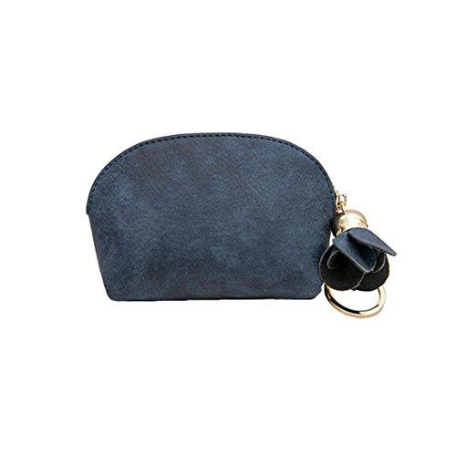 Frame Purse Handtasche (Moonuy,Rahmen,Frauen Leder Handtasche, kleine Mini Wallet Halter Zip Geldbörse Clutch Handtasche Tag Kupplungen Klappe vielseitige Floral Frame (Blau))