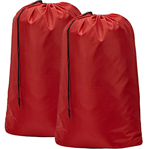 BGTREND 2Pack groß Wäschesack [71,1cm × 101,6cm] Maschinenwaschbar stabile Rip-Stop Material mit Kordelzug Schließung, rot, 2pcs - Ripstop-kordelzug