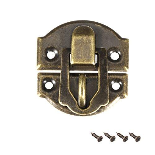FUXXER/® 32x27mm Bronze Eisen Design F/ür Schieber Truhen Kisten Dosen im Vintage Landhaus Retro Stil 4er Set massive Ausf/ührung 4x Antik Verschl/üsse Rasthaken
