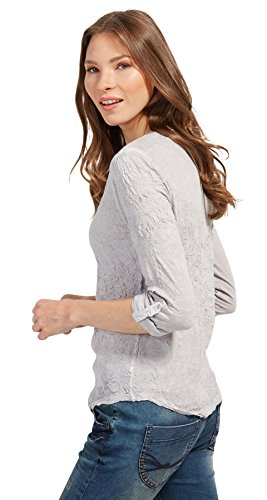 TOM TAILOR Damen Langarmshirt Dyed Crincle Shirt Silber (Light Frost Grey 2640)