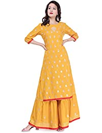 Arayna Women's Rayon Kurti Hand Work Gotta Patti Palazzo Set, Yellow