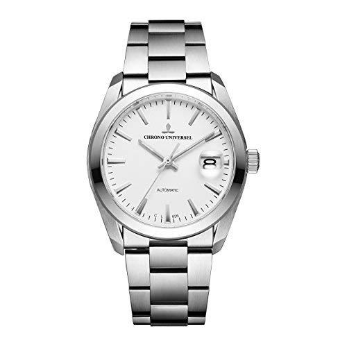Chrono Universel, orologio automatic Commandant quadrante bianco, bracciale in acciaio, vetro zaffiro