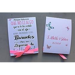 Pañuelos para Bodas. Blanco y rosa con mariposas. 110 unidades