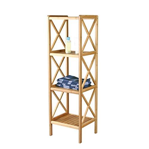 MSV Badregal Bambus 119 x 33 x 36,5 cm Bambusregal mit 4 Ablagen Standregal Küchenregal