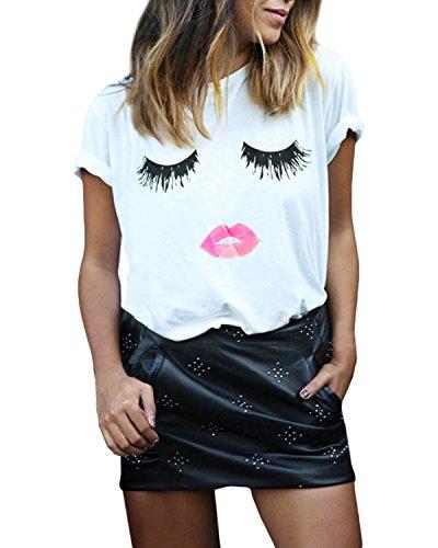 Mine tom Mujer Chicas Casual Verano Camisetas Mangas Cortas Blusa Cuello Redondo Huellas Labiales Pestañas Tops Blanco 40