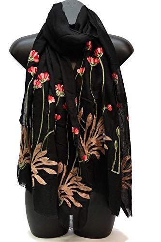 Fourever Funky Damen Winterschal mit Blumenmuster, elegant,