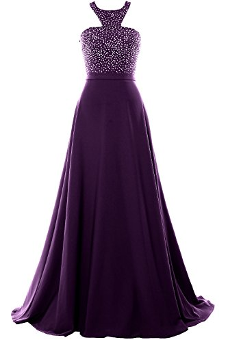 MACloth Halter Beading Chiffon Long Prom Party Dress 2018 Formal Evening Gown Eggplant
