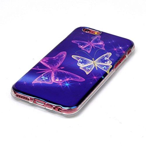iPhone 6S Plus Hülle,Crystal Silikon Case Hülle für iPhone 6 6S Plus,EMAXELERS iPhone 6S Plus Hülle Transparent,iPhone 6S Plus Hülle Blumen,iPhone 6S Plus Hülle Clear,iPhone 6 Plus Hülle Bling Glitzer Butterfly Animal Blue Light TPU 1