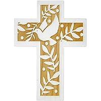 Kaltner Präsente Geschenkidee - 18 cm Wandkreuz Echtes Holz Kreuz aus Fichte Kruzifix mit Taube für die Wand modern gefertigt im Grödner Tal Südtirol
