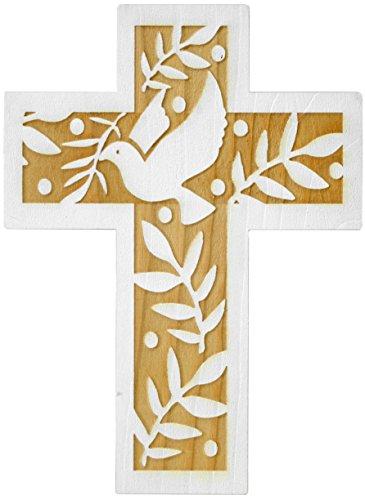 schenkidee - 18 cm Wandkreuz Echtes Holz Kreuz aus Fichte Kruzifix mit Taube für die Wand modern gefertigt im Grödner Tal Südtirol ()