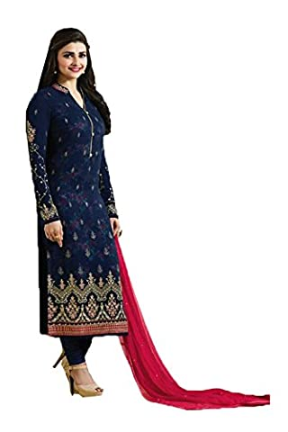 IWS Straight Cut Style Amazing Salwar Kameez in Blue Georgette Fabric 84111