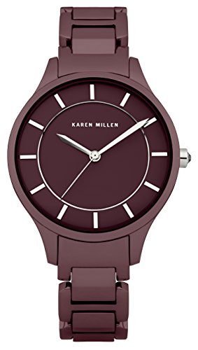 Karen Millen Women's Quartz Watch with Red Dial Analogue Display and Red Stainless Steel Plated Bracelet KM133TM