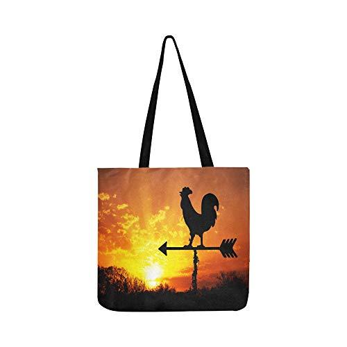 Hahn Wetterfahne Gegen Sonnenaufgang Helle Leinwand Tote Handtasche Umhängetasche Crossbody Taschen Geldbörsen Für Männer Und Frauen Einkaufstasche
