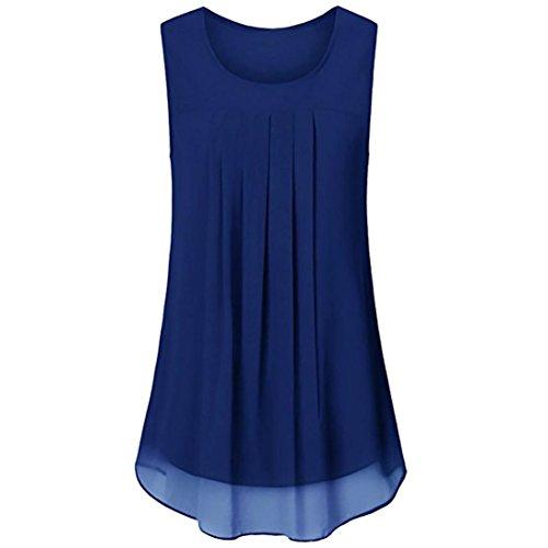 OverDose Damen Sommer Ärmellos O-Ausschnitt Casual Chiffon Solide Weste Bluse Tank Tops Camis Frauen T Shirt Tees (Blau,EU-48/CN-XL) (Einhorn-strickjacke)