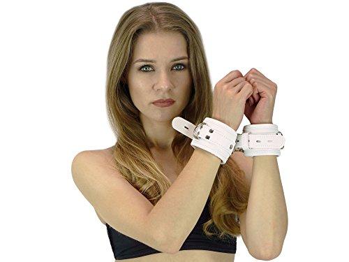 Handfesseln gepolstert und abschließbar weiß Leder Fesseln