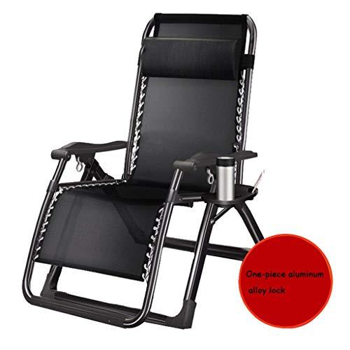 WJJJ Patio Stuhl Schwerelosigkeit Outdoor Stuhl Einstellbare Klappverriegelung Lange Stühle Single Camp Bett Büro Siesta Bettliege (Farbe: Schwarz 2, Größe: 72 cm) -