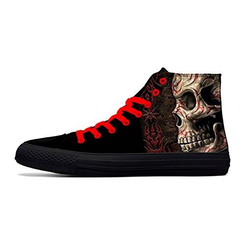 Botia Hombre Zapatos de Calavera Zapatos de Lona Altos Zapatos de...