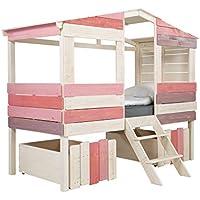 Preisvergleich für massivum Kinder-Bett Safari 221x179x100 cm aus Holz Pinie massiv weiß und rosa lackiert Mädchen-Bett für Kinderzimmer Liegefläche 90x200 cm