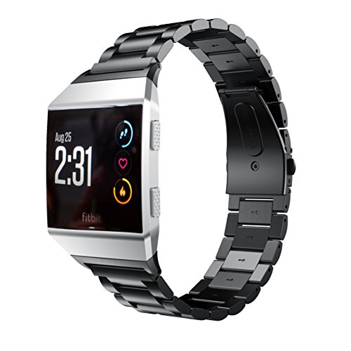 Aimtel Kompatibel mit Fitbit Ionic Armband, Metall Solide Edelstahl Ersatzarmband mit Link Removal Kit Kompatibel mit Fitbit Ionic(Schwarz)