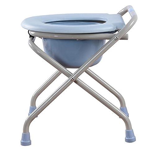 KDGWD Chaises percées ® Chaise pliante pliante de luxe légère avec siège de toilette Chaise de bain Tabouret pour femmes enceintes Vieil homme et personnes handicapées Bleu