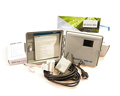Plug&Rain Smart-Bewässerungsteuerung, Hunter Pro-HC 6 Stationen mit Funk-Regensensor Expert Hc-plug