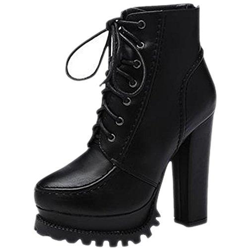 Oasap Femme Boots A Cheville Pointue Talons Bloc Talons Hauts Plate-forme