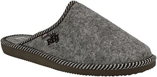 RBJ leather shoes Herren Natur Wollfilz Pantoffeln für Wohlgefühl - warm, atmungsaktiv, natürlich, Handarbeit, Qualität, (44 EU, Grau 903A)