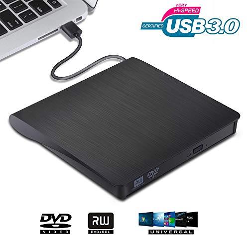 VGROUND Grabadora Lector CD DVD Externo, Ultra Slim Portátil Lector USB 3.0 Unidad de Disco Óptico para Macbook, Laptop Desktops, PC, Windows 7/8/10/XP/Vista/Mac OS