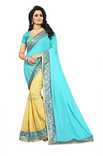 The Shopoholic Blue Embroidered Saree For Women