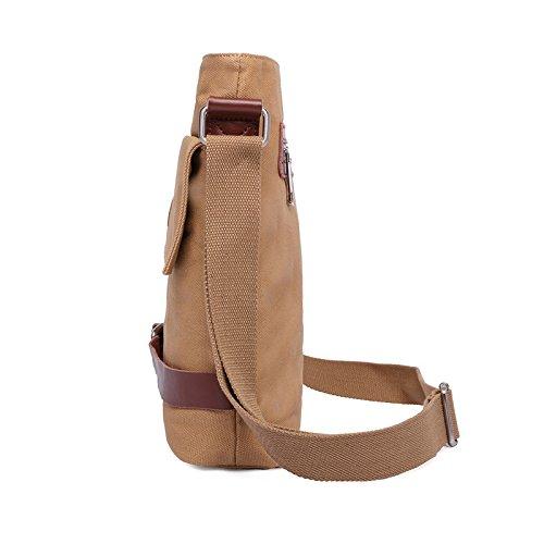 VRIKOO Leisure Vintage Canvas Shoulder Bag Work Business Travel Crossbody Messenger Bag (Coffee) Cachi