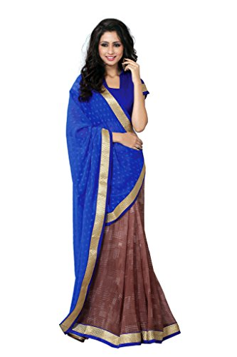 SOURBH Women's Jacquard,Faux Georgette Half Half Saree (364B_Royal Blue,Coffee)  available at amazon for Rs.895