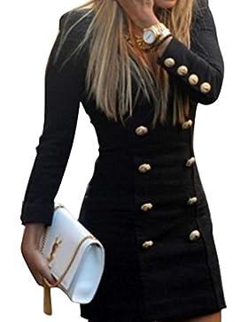 Vestito da donna,feiXIANG® Maglia Vestiti Dress Con Tasca Abito a Pieghe Abiti Gonna Gonna a Coda di Rondine Vestito...