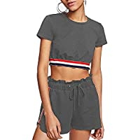 TOP-MAX Women's Tracksuits Outfits Sports Gym Crop Top And Shorts Sweatsuits Active Top & Bottom Sets Running 2 Pieces Small D# Grey