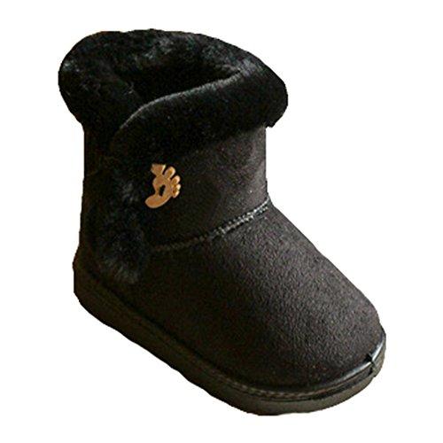 Kinder Winter Stiefel Wildleder Knopf Baumwolle Fleece Linning kurze Knöchel Schnee warme flache Bootie Schuhe (Kinder Winterstiefel Wildleder Fell)