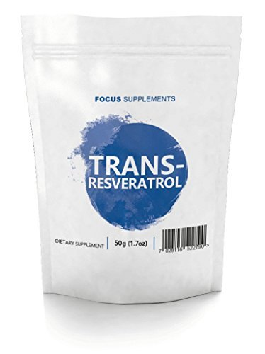 Reines Trans-Resveratrol Pulver - Für Wahrnehmung & Nervensystem   WIRKSAMES ANTIOXIDANS   Anti-Aging - Focus Supplements - Verpackt in ISO-zertifizierten Betrieben in GB - 100 % Geld-zurück-Garantie (50g) (Stack Loss Fat Supplement)