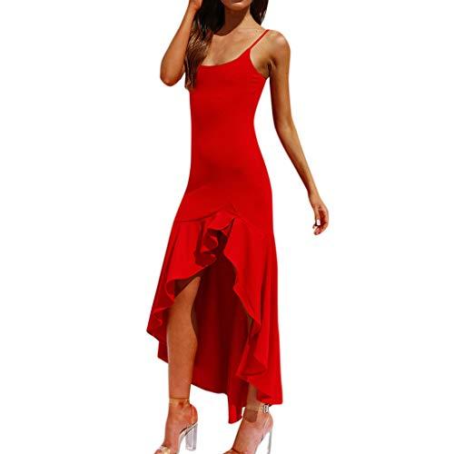 iHENGH Damen Frühling Sommer Rock Bequem Lässig Mode Kleider Frauen Röcke Sexy Rüschen Schulterfrei Ärmelloses Kleid Princess Dress(Rot, (Bequem Kostüm)
