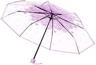 The Purple Tree Transparent folding Umbrella (cherry blossom Purple) - 1 Pc , Rain Umbrella , transparent umbrella , 3 Fold umbrella , compact umbella , Pretty umbrella , folding umbrella , Fancy umbrella , stylish umbrella