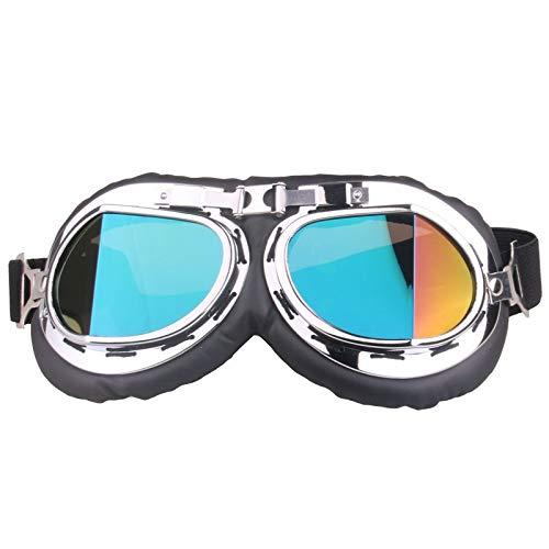 ZYL-YL Schneebrille Winkel Retro Goggles Motocross Goggles Wind und Staub Brille Sport Schlag (Color : Colorful) -