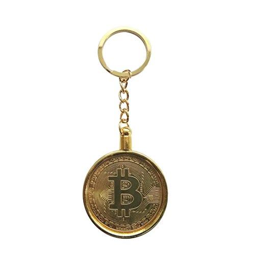 AmaMary Bitcoin Münzen Schlüsselring, Weinlese Schlüsselring mit überzogenem Bitcoin-Münzen-Anhänger für Schlüssel Große sammelbare Geschenk Kunst-Sammlung für Freund Familie Gold (Große Gold Münze Anhänger)