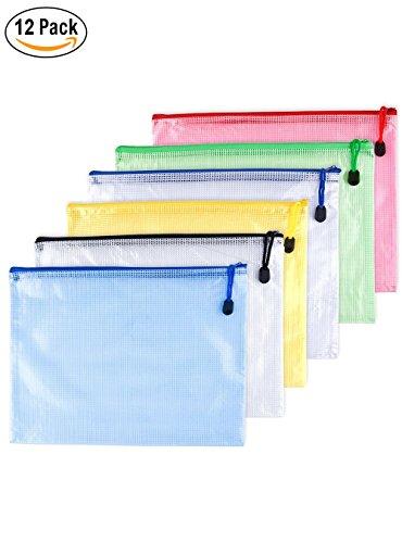 12pcs Chemise Paquet Portefeuille Pochette en PVC Zip Document Dossier /PVC School Office Magazine Document File Zippy Closure Folder Holder Bag-Noir,Bleu,Blanc,Juane,Vert,Rouge-A6