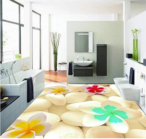 Rureng Dekoration 3D Badezimmer Tapete Wasserdicht 3D Schöne Pflasterstein Boden Pvc Boden Tapete-250X175Cm