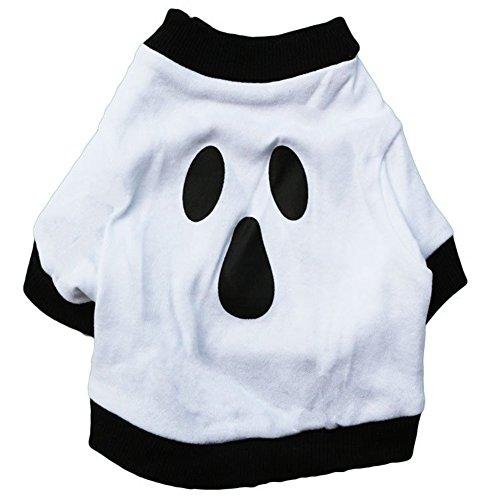GINBL Pet Halloween Kostüme für Kleine Hunde Shirt Orange Pumpkin Weiß Ghost Kostüm, XS, Weiß