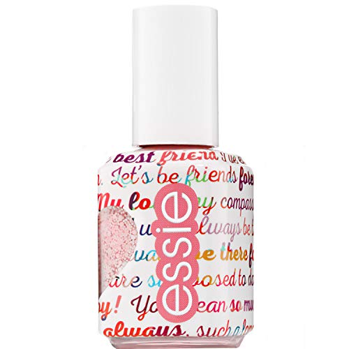 Essie Nagellack Galentines 2019 Collection Matt Glitter Top Coat, White and Pink - Glitter Top Coat
