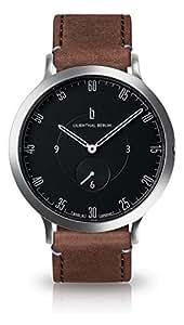 Lilienthal Berlin Unisex Armbanduhr L1 in Silber-Schwarz mit braunem Lederarmband - L01-105