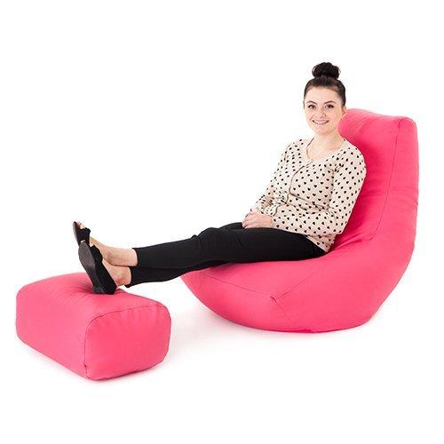 Teens Für Gaming-stühle (Rosa Kunstleder Gaming Highback Sitzsack Liege Stuhl mit Fußhocker)