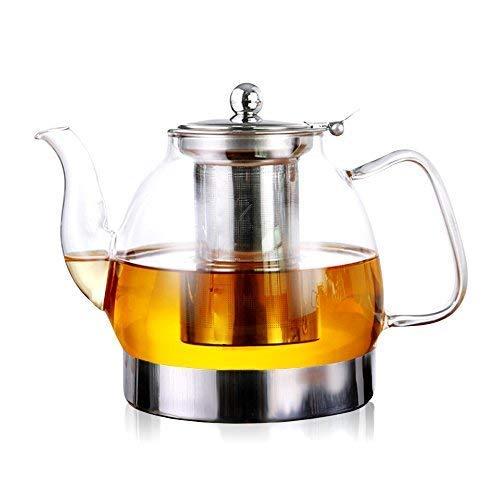 alixin ct008Hohe Borosilikatglas hitzebeständig Edelstahl-Ei Induktion rund Teekanne ideal für Tee und Kaffee Einweichen. Kaffee Tee-Kanne Glas Teekanne Loose Leaf. 1200ml