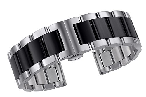 20mm Zwei Ton 316l Edelstahl Uhrenarmband Armband solide Links Silber und schwarz Deployment Verschluss