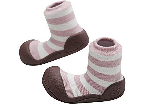 Attipas - ergonomische Baby Lauflernschuhe, atmungsaktive Kinder Hauschuhe ABS Socken Babyschuhe Antirutsch Bio Baumwolle Natural Herb (21.5, Rosa) -