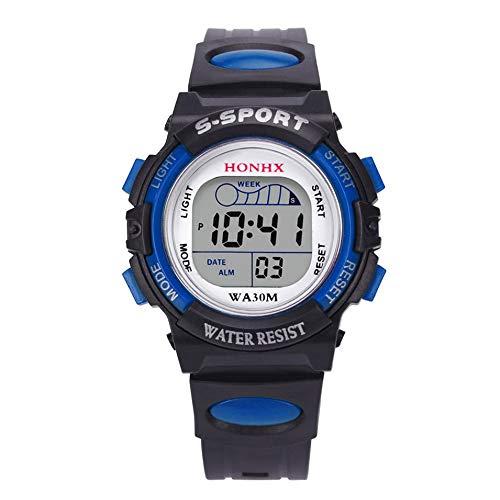 dcb2a0858a94 HermosaUKnight Reloj LED Reloj Digital Alarma Fecha Goma Army Sport Relojes  Infantiles-Azul