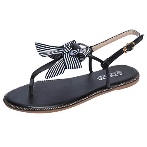 Schwarzer Bogen Flach (jfhrfged Damenmode Sandalen komfortable Rutschfeste Sandalen Bögen Flache Füße Sandalen Sommersandalen (Schwarz, 35))